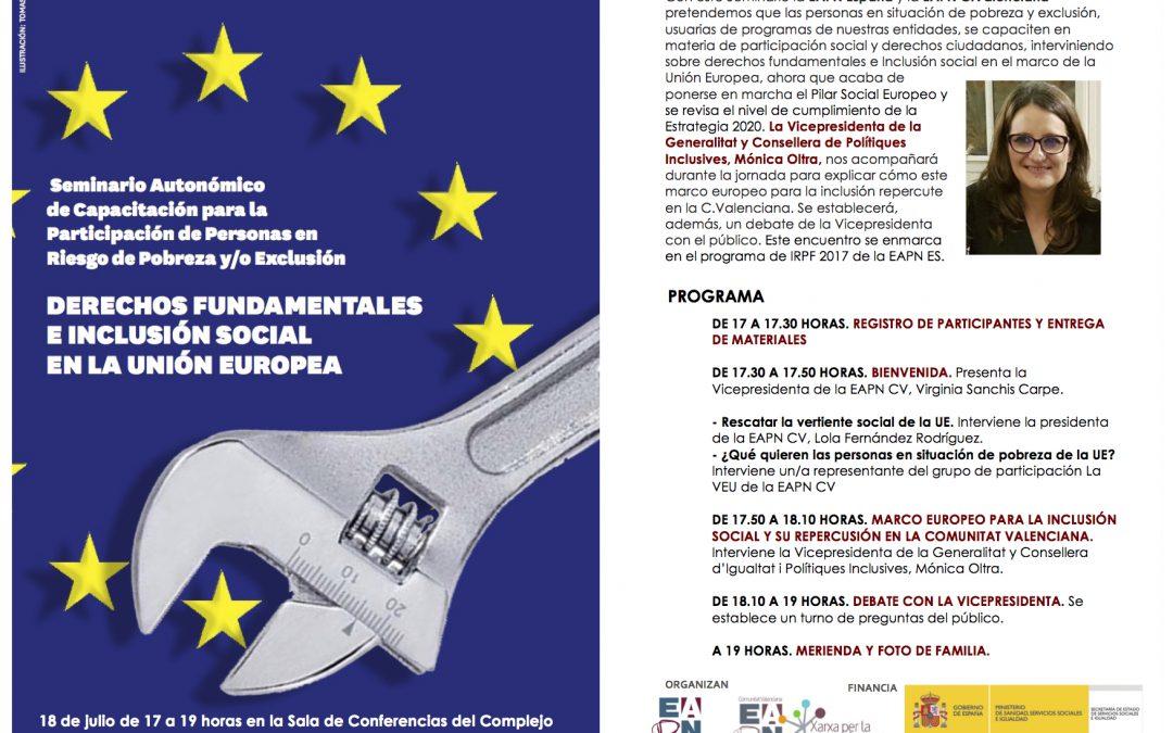 Personas en riesgo de exclusión abordarán con Mónica Oltra el marco europeo para la inclusión social