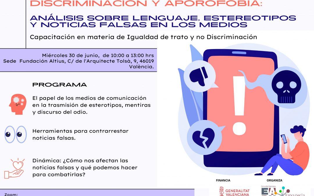 EAPN CV organiza un taller sobre discriminación y aporofobia en medios y redes sociales